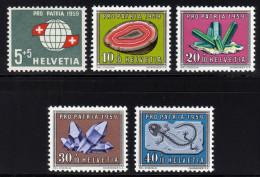 SCHWEIZ 1959 ** Mineralien & Fossilien - MiNr.674-678 Kompletter Satz MNH - Mineralien