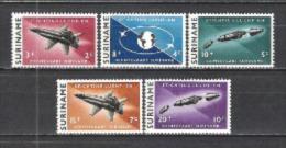 Suriname 1964 Transport Verkehr Luftfahrt Flugzeuge Weltraum Weltall Raumfahrt Raketen Agena Flaggen Flags, Mi. 441-5 ** - Suriname