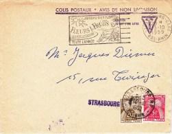"Env ""COLIS POSTAUX AVIS DE NON LIVRAISON ""du 13.10.1959 Taxée STRASBOURG R.P. 25 F Du 14.10.1959 - Cartas Con Impuestos"
