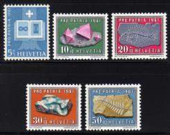 SCHWEIZ 1961 ** Mineralien & Fossilien - Kompletter Satz MNH - Mineralien