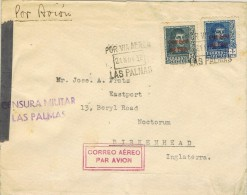 13955. Carta Aerea LAS PALMAS (Canarias) 1938. CENSURA Militar - 1931-50 Briefe U. Dokumente