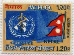 WHO 20TH ANNIVERSARY RUPEE 1.20 STAMP NEPAL 1968 MINT MNH - WGO