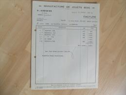 Ancienne Facture  Jouet Jonzac Grelety Jouet En Bois Lettre Change - France