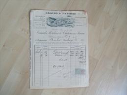 Ancienne Facture Illustree Chalons Sur Marne Grain Farine Grands Moulins - 1900 – 1949