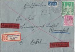 Bauten R-Brief Eilbote Mif Minr.90wg,97wg Niederthalhausen 1.2.50 - Bizone