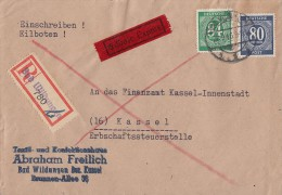 Gemeina R-Brief Eilbote Mif Minr.935,936 Bad Wildungen 28.9.46 - Gemeinschaftsausgaben