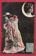CPA ARTISTE FEMME -  Brésil - Photographe Reutlinger Paris - Photomontage Visage Sur Lune - Artistes