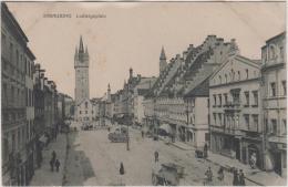 AK - STRAUBING - Strassenpartie - Reges Treiben Mit Pferdefuhrwerken Beim Ludwigsplatz Um 1900 - Straubing