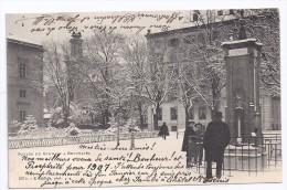 CPA Neuchâtel Suisse Square Du Gymnase Neige Baromètre édit E Chifelle N°207 B écrite Timbrée 1907 Dos Non Divisé - NE Neuchâtel