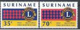 1982 SURINAM 852-53** Lions-club