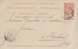 """BELGIË ENTIER Nr. 25 """"FRAMERIES 8 AOUT 1900"""" + Repiquage """"Cie CHARBONNAGES BELGES à FRAMERIES , Près MONS"""" - Other"""