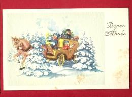 EZV-19 Bonne Année, Calèche Enfants, Chevaux Dans La Neige. Kutsche. Cachet 1952 - Nieuwjaar