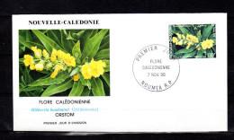 """Env. 1er jour de 1990 """" FLORE CALEDONIENNE : HIBBERTIA BAUDOUINII N� YT 600. Parfait �tat. FDC"""