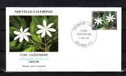 """Env. 1er jour de 1990 """" FLORE CALEDONIENNE : GARDENIA AUBRYI N� YT 599. Parfait �tat. FDC"""