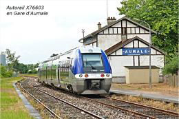 Autorail X-76603 En Gare D'Aumale , Département De La Seine-Maritime  -  Une Photo Reproduit Carte Postale  10x15 Cm. - Gares - Avec Trains