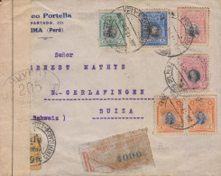 G)1918 PERU, MULTIPLE COVER WITH CENSOR MARK, ONE STAMP WITH OVERPRINT ERROR, REGISTERED MAIL, CIRCULATED TO SWITZERLAND - Peru