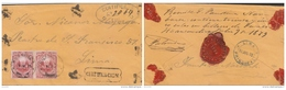 G)1879 PERU, FRANKED BY PAIR OF 1878 20 C. CARMINE TIED HUANCUACA CD'S FLOWER SHAPPED CANCELS IN BLACK AROUND EDGES DETO - Peru