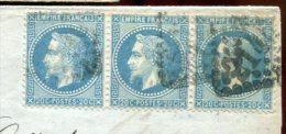 79239 - 29A, Bande De  3 Ex, Tarif  60 C, GC 2145 Cad Type  17 LYON LES TERREAUX Sept 1869 Pour La PRUSSE TTB - 1849-1876: Période Classique