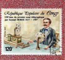 REP. POP. DU  CONGO  -- SAMUEL  MORSE   -- **  120 F. ** --  POSTE 1988 ........... - Kongo - Brazzaville