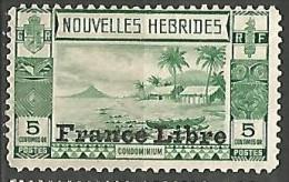 NOUVELLE HEBRIDE FRANCE LIBRE N� 124 NEUF*  TRACE DE CHARNIERE / MH /