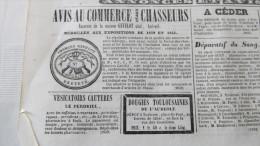 AMORCES GEVELOT - CHASSE - CHASSEURS  PUBLICITE DANS LE JOURNAL DE TOULOUSE --1844. - Journaux - Quotidiens