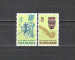 Suriname 1967 Kunst Kultur Ballett Tanz Tänzer Religion Schiwa Musikinstrumente Violine Trommler Masken, Mi. 523-4 ** - Suriname