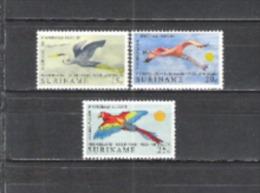 Suriname 1971 Tiere Animals Fauna Vögel Birds Oiseaux Reiher Heron Flamingo Papageien Parrot Ara, Mi. 593-5 ** - Suriname