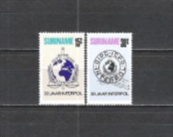 Suriname 1973 Organisationen Sicherheit Interpol Polizei Police Verbrechensbekämpfung Visum Visa, Mi. 656-7 ** - Suriname