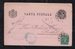 Rumänien Romania 1885 Uprated Stationery Bukarest To RUSTSCHUK RUSSE Bulgaria - Briefe U. Dokumente