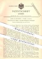 Original Patent - Louis B. Fiechter In Basel , Schweiz , 1892 , Filtertuch Für Staub- Und Rauchfangvorrichtungen , Mühle - Documents Historiques