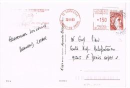 EMA 1.5 Sur CP 13-FONTVIEILLE 1983 HOTEL LA PEIRIERO. - Marcophilie (Lettres)