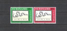 Suriname 1976 Geschichte Unabhängigkeit USA Amerika Kunst Karikatur Benjamin Franklin Zeitungen Schlangen, Mi. 736-7 ** - Suriname