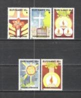 Suriname 1984 Religion Christentum Ostern Easter Kreuze Friedhof Flammen Dornenkrone Leidensgeschichte, Mi. 1075-9 ** - Suriname