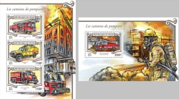 FREE SHIPPING WORLDWIDE Niger 2015 Fire Engines Fire Brigade MS+S/S 312 Official Issue ** - Niger (1960-...)