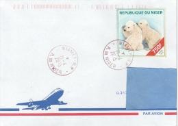 Z3] RARE: Enveloppe Cover Niger Ours Polaire Polar Bear Cub Ourson Ursus Maritimus - Bears
