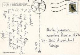 Solo Stamp Postcard - 6 July 1996 Riga Latvia Lettonie Lettland To Denmark