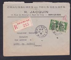 Recommande Bar Le Duc Affranchissement 2 Timbres 5F Marianne De Gandon Chaussures Jacquin Vers Notaire Ligny En Barrois - Marcophilie (Lettres)