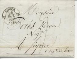 T13 Rouen 1834 Pour Figeac Au Verso T13 Figeac En Arrivée - Postmark Collection (Covers)