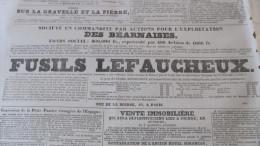 FUSILS  LEFAUCHEUX - PUBLICITE DANS LE JOURNAL DES DEBATS DE 1836. - Journaux - Quotidiens