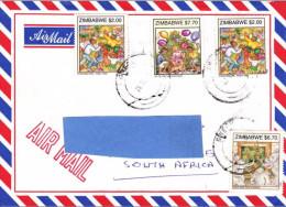 Z2] Envelope Cover Zimbabwe Noël Christmas Enfant Child Chien Dog Elephant - Zimbabwe (1980-...)