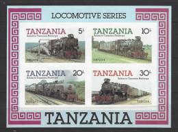 """TANSANIA Block 44 """"Lokomotiven"""" Seltene Abart UNGEZÄHNT Postfrisch (1) - Tansania (1964-...)"""