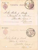 13972. DOS Entero Postal BARCELONA  1923-1925. VARIEDAD Color, Alfonso XIII Medallon - Enteros Postales