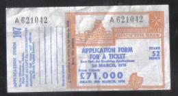 MALTA - OLD LOTTERY TICKET - 1976 - Lottery Tickets