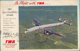 The TWA´S Super-Constellation Skyliner. Postcard From The Flight Roma - Raris. - 1946-....: Moderne