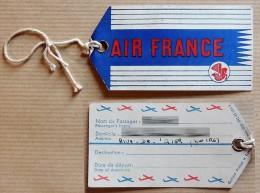 Ancienne étiquette AIR FRANCE (mars 1956) Avec Cordon - Étiquettes à Bagages