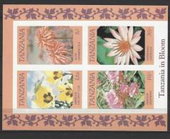 "TANSANIA Block 57 ""Blumen"" Seltene Abart UNGEZÄHNT Postfrisch (2 - Tansania (1964-...)"