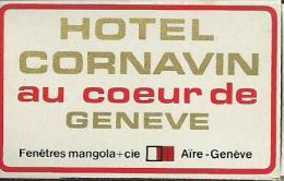 """Boîte D'allumettes """"HOTEL CORNAVIN"""" Genève Suisse. - Boites D'allumettes"""