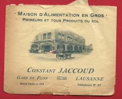 EZM-20 Dos D'une Enveloppe Maison Primeurs Constant Jaccoud Gare Du Flon Lausanne, Cachet 1920. ETAT - Switzerland