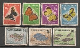CUBA - Posta Aérienne - Air Mail  - BUTTERFLIES - FISHES - PAPILLONS  -Yvert # A 185/191 - * MINT (Light Trace Of Hinge) - Luftpost