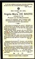 De Baere Angela,Maria - De Meulemeester Prosper,Leo ° Leupegem 1869 + 1925 Oudenaarde Lot.4610 - Devotion Images